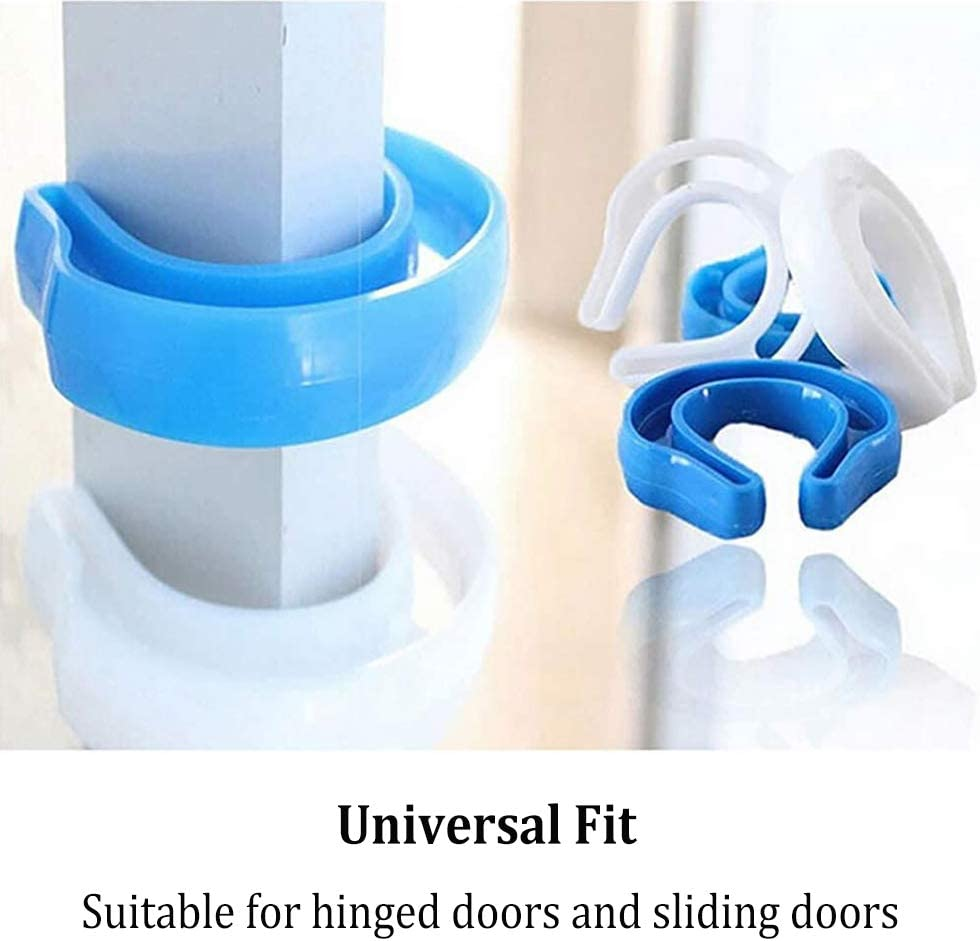 6 Pack YUESEN Baby Proof Door Stopper,Protect Child Fingers with Guard,Prevent Finger Pinch Injuries,Slamming Door,Child or Pet from Getting Locked in Room,White and Blue Finger Pinch Guard