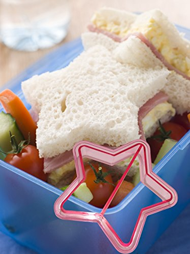 Gain (SET OF 6) Cookie, Cake, Sandwich Cutter & Bread Crust Remover, FREE 30 Smiley Stylish Wrappers,6 Cute Shapes-Star,Dolphin,Triangle,Dinosaur,Butterfly,Heart.No More Boring Lunch.Bonus KidsWorld E-book opportunity