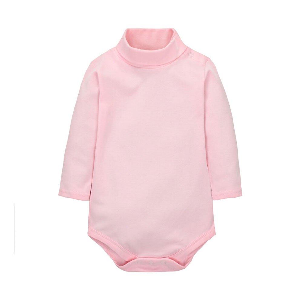 CuteOn Baby Boys Girls Solid Color Basic Turtleneck Cotton Bodysuit Jumpsuit Pink 24 Months CO-CXPFA1-FHS-24M