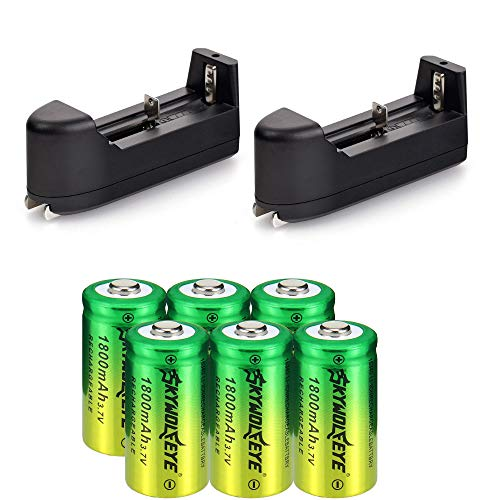 Lightbole 6x16340 lithium Rechargeable Batteries 1800mAh 3.7V Botton Top with