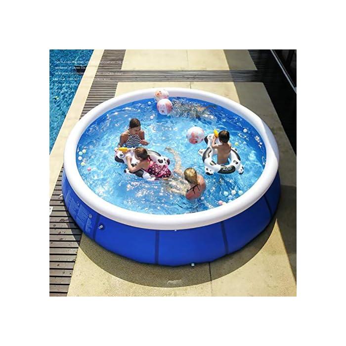 51iIy2u1LoL Fácil de instalar: nuestra piscina es fácil de instalar, y llene la piscina inflable con agua unos diez minutos. Diferentes capacidades: las piscinas de diferentes tamaños pueden contener diferentes números de personas, 6 pies x 29 pulgadas pueden contener 2 niños; 8 pies x 30 pulgadas pueden contener 3 niños; 10 pies x 30 pulgadas pueden contener 4 ~ 5 niños; 12 pies x 30 pulgadas pueden contener 5 ~ 6 niños. Por favor elige el tamaño que necesitas. Duradero: nuestras piscinas exteriores están hechas de una capa intermedia de PVC de protección ambiental de alta calidad, protección ambiental e inofensiva. Puede disfrutar de la piscina con su familia en el terreno plano del patio trasero.
