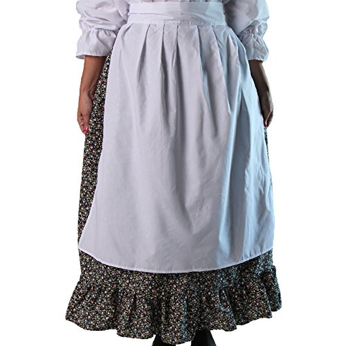 Teen or Women's White Simple Peasant Apron - Peasant Costumes Medieval Times