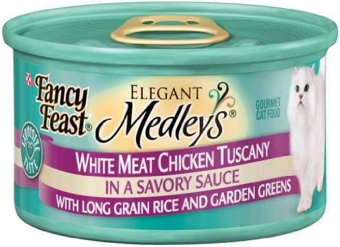 Fancy Feast Elegant Medley s White Meat Chicken Tuscany w Rice Garden Greens Cat Food 24 – 3oz Cans
