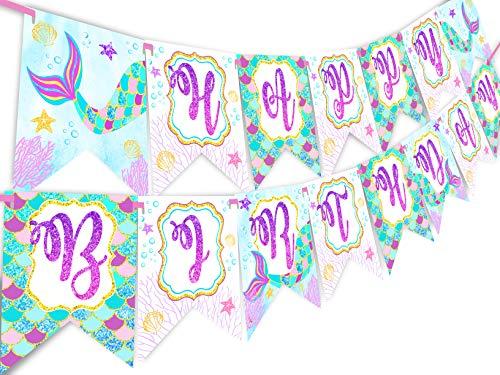 (Mermaid Glitter Happy Birthday Banner Pennant - Under The Sea Banner -)