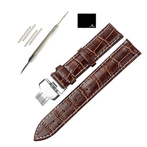 TON CHARME Calf Leather Watchband With Butterfly Deployment Clasp Black/Brown/Light Brown 18/20/22mm (22mm, Brown×White Stitching)