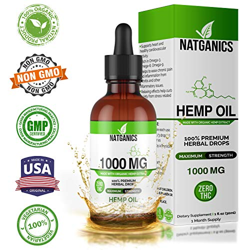 Hemp Oil 1000mg for Pain, Anxiety, Stress & Joint Relief, Mood & Sleep Support, Natural Organic Tincture Oils Drops Extract 1 Fl Oz, Anti Inflammatory, Pure Herbal Supplement Helps with Skin & Hair.