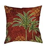 Single Piece Red Green Gold Thumbprintz Palms Tree Indoor Outdoor Tropical Throw Pillow, 20 Inch, Graphic Print, Square Shape, Accent Type, Polyester Material, Contemporary Style, Spot Clean