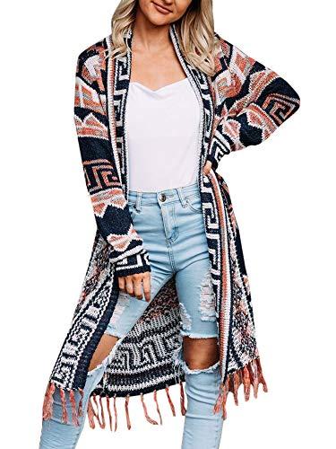 Ferbia Women Boho Cardigan Open Front Long Maxi Knit Sweaters Aztec Tribal Tassel Fringe Thin Coat ()