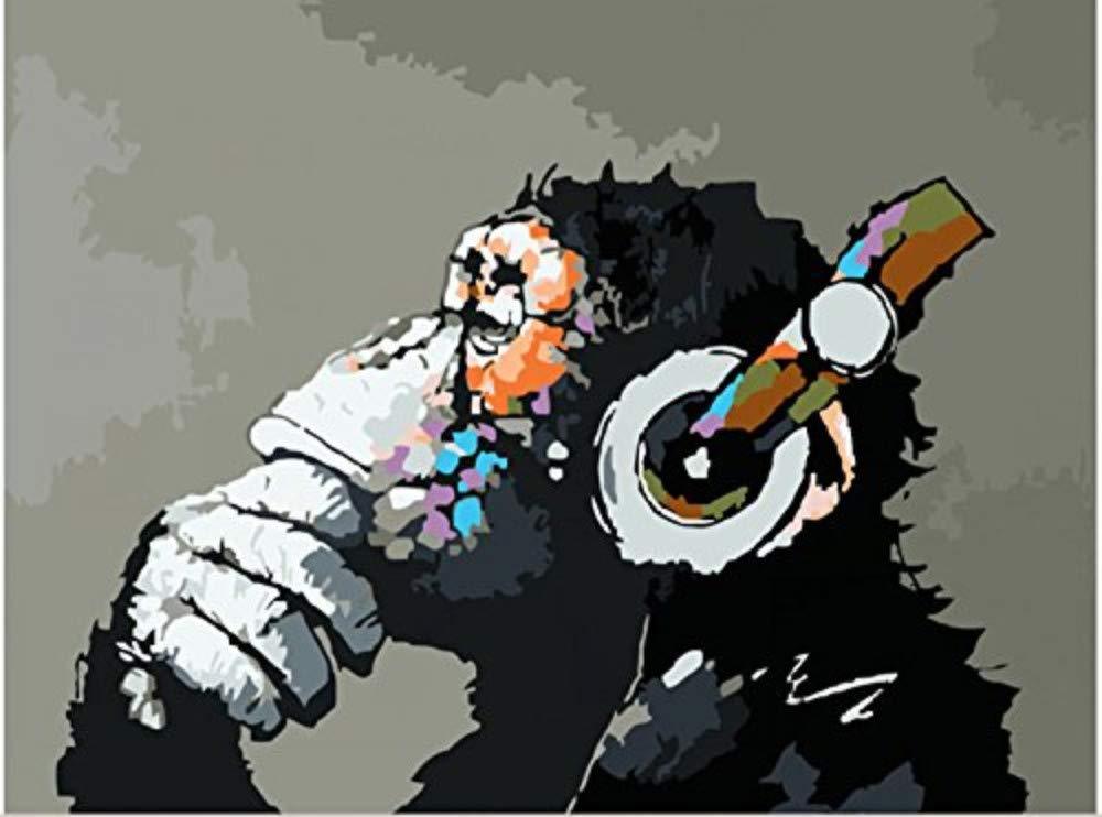 Malen Sie Nach Zahlen Für Erwachsene Canvas DIY Musik Und Affen Für Erwachsene 40x50cm with Combination Frame B07PS9D49K   Starke Hitze- und Abnutzungsbeständigkeit
