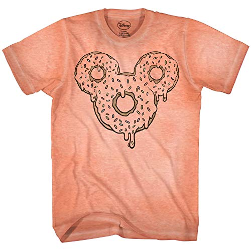 Mickey Mouse Donut Tie Dye Classic Vintage Disneyland World Mens Adult Graphic Tee T-Shirt Apparel (Peach, Large)