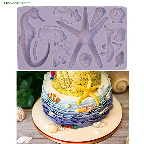 1set Seaside Accessories Mould DIY New Kind Baby Birthday Cake Mold Fondant Molds Chocolate Silicone Mold New Year Candy Mold]()