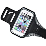 "Baiyu iPhone 6 Armband Neoprene Sweatproof Adjustable Sports Armband Ultra Thin Case Cover Holder for 4.7 Inch phone or below 4.7"" phone, Suitable for Sports, Gym, Running, Jogging, Walking, Biking, Climbing, Hiking, Workout and Exercise - Black"