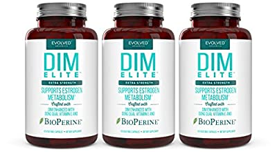 DIM ELITE 250mg plus Dong Quai, Vitamin E & BioPerine (2-4 month supply) - DIM Supplement for Menopause Relief, PCOS Treatment & Hormonal Acne Treatment - Diindolylmethane Aromatase Inhibitor 120 Caps