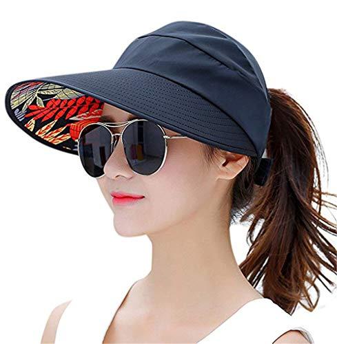Sun Visor Hats for Women Large Wide Brim Foldable Summer Beach Hat UV Protection Caps (D-Black -1)