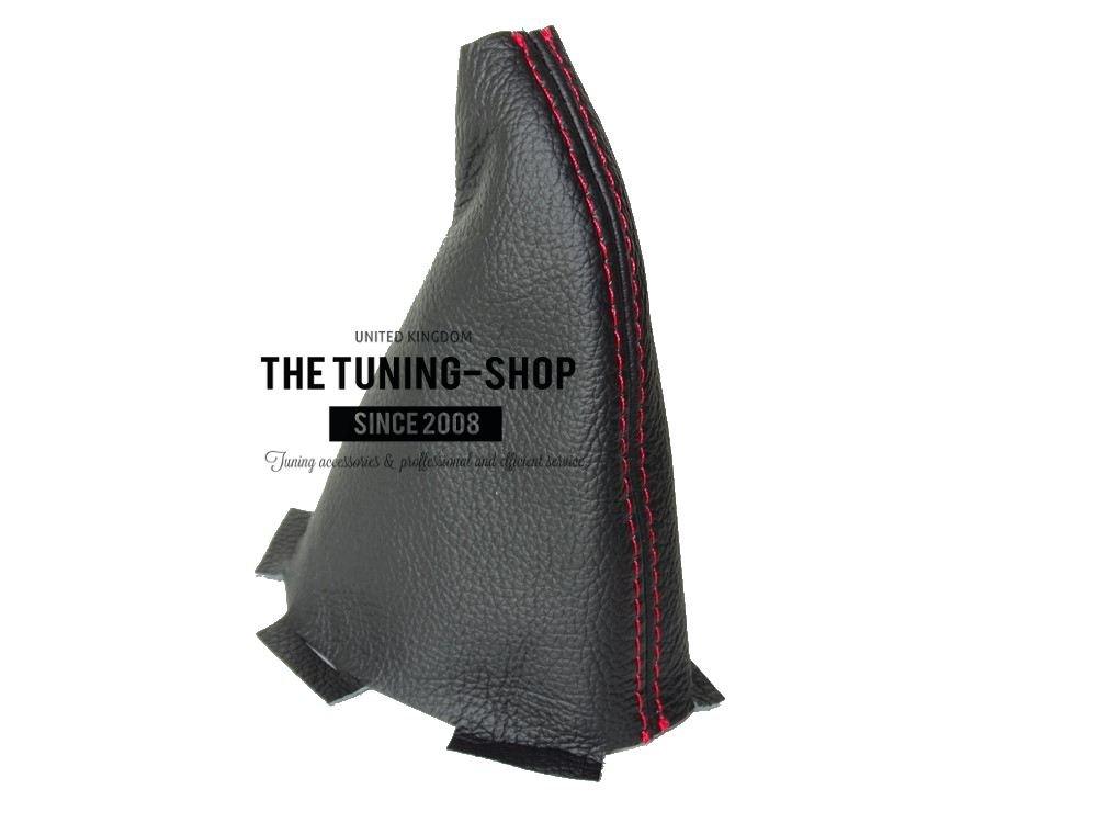 The Tuning-Shop Ltd Soufflet de levier Cuir v/éritable Noir Blanc Coutures