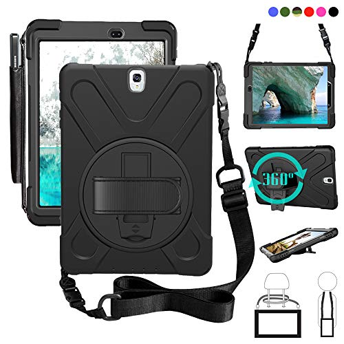 Galaxy Tab S3 9.7 Case with Pen Holder, Shock-Absorption/High Impact Resistant Heavy Duty Armor Cover with Handstrap Strap Shoulder Belt for Samsung SM-T820 T825 9.7 inch Tablet Black (Best Tab S3 Case)