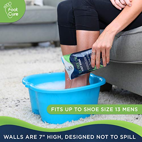 FOOT CURE Foot Soaking Bath Basin - Large Size for Pedicure Home Spa, Callus Removing & Soak injured Feet. Enjoy Hot Water Foot Massager, Scrubbing in This Tub/Bucket