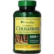 Puritan's Pride Cinnamon Capsules with High Potency Chromium, 1000 mg, 120 Count