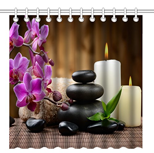 Zen Garden Rug (Wknoon 72 x 72 Inch Shower Curtain, Zen Garden Theme - Stone Pink Flowers Burning Candle)
