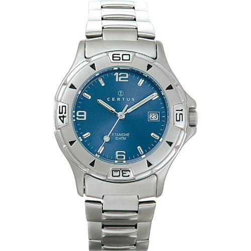 Certus 616802 - Reloj analógico de cuarzo para hombre, correa de acero inoxidable color plateado
