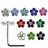 20 Pieces Box Set of Multi Crystal Stone Flower Top Sterling Silver L Bend Nose Stud Jewelry