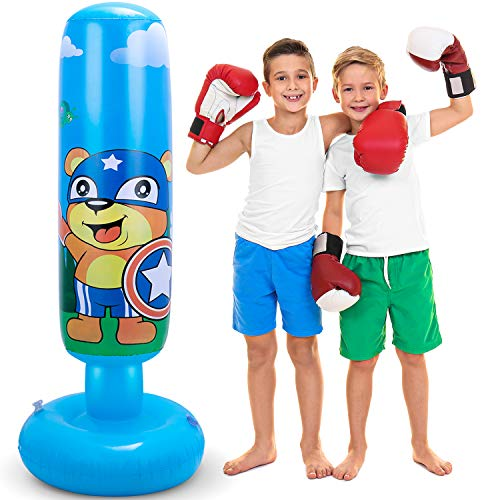 LEAZEAL Punching Bag for Kids, 49.4in/125cm Inflatable Boxing Bag Fitness Speed Bags Freestanding Punching Bag with…