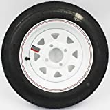 LoadStar 4-hole 12'' x4'' White Spoke with Red and Blue Pin Stripe Trailer Wheel and Tire 4.80-12 4ply