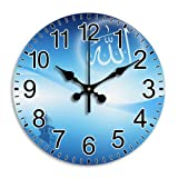 Monica M Joheson Attractive Silent Arabic Numbers Quiet Sweep Frameless Time Decorative Round Wall Clock Diameter 11.8 Inch