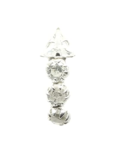 Buy Ethnic Indian 925 Sterling Silver White Cz Studded Corkscrew