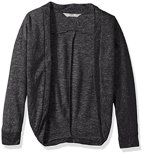 Harmony and Balance Girls' Big Long Sleeve Sweater Knit Top, Charcoal Heather, 7/8 by Harmony and Balance
