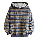 Uqiangy Mens Casual Autumn Loose Striped Hoodies Pullover Pocket Sweatshirt Outwear(Khaki,M)