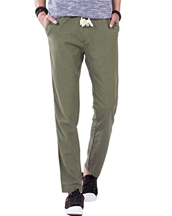 BoBoLily Pantalones De Lino De Hombres Pantalones Largos De ...