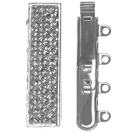 Elegant Elements Rhodium Plated 4-Strand Box Clasp - Rectangle With Crosshatch Design 10x25mm