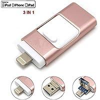 USB i Flash Drive U Disk Memory Stick Storage For Iphone Ipad PC 8gb 16gb 32gb 64gb 128gb (Rose Gold 128GB)