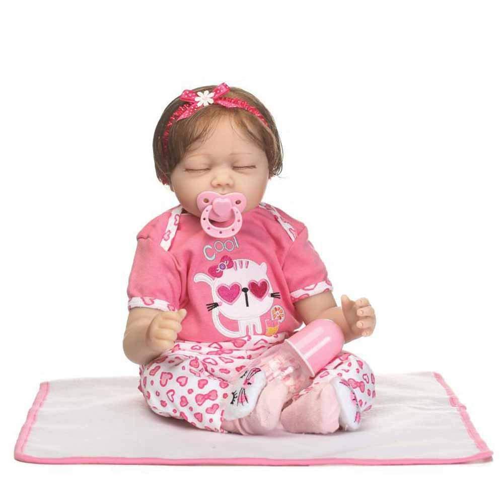 CHENG Bambole del Bambino Appena Nato Bambole di rinascita del Bambino da 21 Pollici Silicone Realistico con i Vestiti Bambola di Modo
