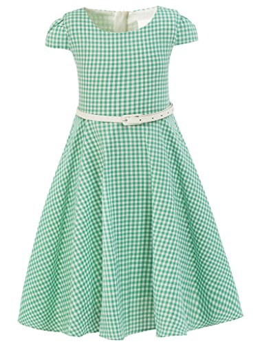 Bonny Billy Girls Dress Back to School Classy Vintage Kids Clothes 7-8 Years Green Grid