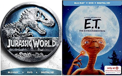 (Dinosaur Alien Stephen Spielberg E.T. Exclusive Steelbook & Jurassic World Limited Edition DVD + Blu Ray Family Fantasy Movie Bundle Double Feature Set)