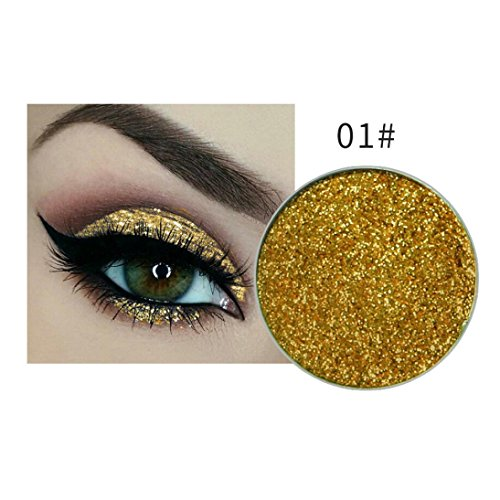 Fheaven (TM) 15 Colors Eyeshadow Glow Waterproof Make Up Eye shadow Glitter Brighten Shimmer Highlighters Makeup for Salon or Halloween Party Makeup (A)
