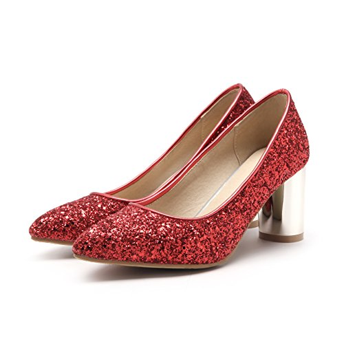 Chaussures Peu Profonde QIN Femmes CXQ Bloc amp;X Talons de Red Chaussures Bouche n6RqS7Yw