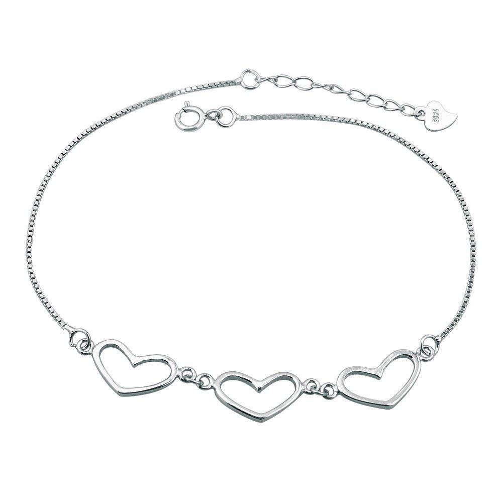 Charmed Craft 925 Sterling Silver Heart Love Anklet Bracelet CA_BR_XGSS28