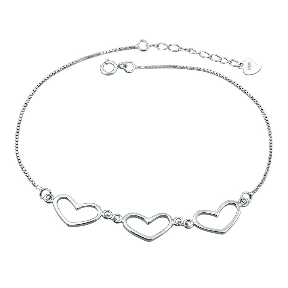 LovelyCharms 925 Sterling Silver Open Heart Love Chain Anklet Ankle Bracelets