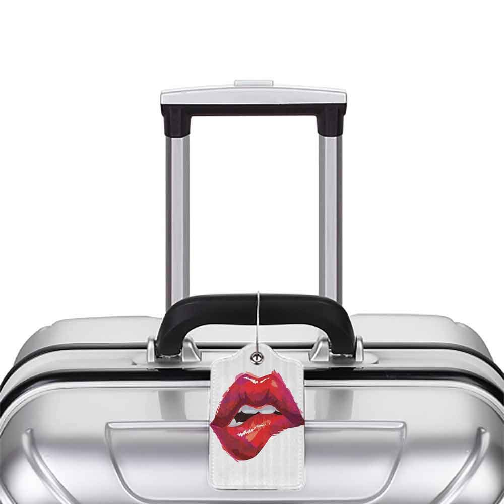 Decorative luggage tag Themed Fiance Gifts for Him Woman Red Lips French Kiss Temptation Attraction in Young Couple Apartment Suitable for travel Red and White W2.7 x L4.6
