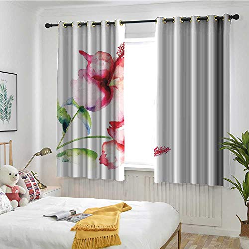 MaryMunger Watercolor Flower Curtains for Bedroom Hibiscus Flowers on Plain Background in Pastel Colors Nature Home Decor Energy Efficient, Room Darkening W 55