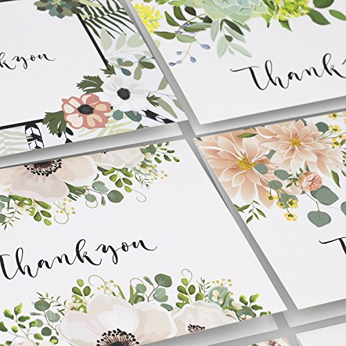 Thank You Cards: Vintage Floral Bulk Set of Blank Note Cards for Wedding, Bridal or Baby Shower, Teacher, Birthday Card, Business Notes and More - Assorted Pack with Envelopes and Cute Stickers Inside Photo #6