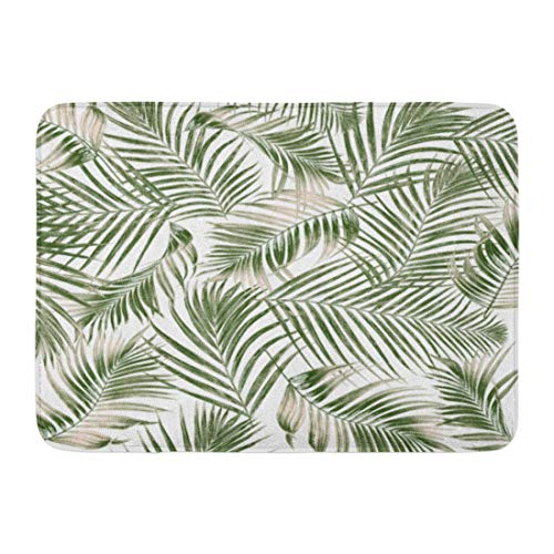 "Emvency Doormats Bath Rugs Outdoor/Indoor Door Mat Leaf Green Leaves of Palm Tree on Pattern Tropical Coconut Foliage Bathroom Decor Rug 16"" x 24"""