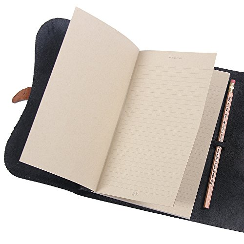 Leather Writing Journal Notebook Black Brown Refillable Unlined Pages by Col. Littleton (Image #7)