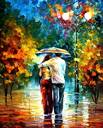 Price comparison product image DIY 5D Diamond Painting by Number Kits,  Crystal Rhinestone Diamond Embroidery Paintings Pictures Arts Craft for Home Wall Decor, Lovers in Rain 16X20 inch
