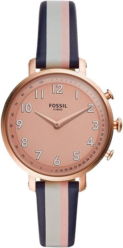 Fossil - Reloj híbrido de Acero Inoxidable para Mujer con Correa de Cuero, Multi, 14 (Modelo: FTW5051)