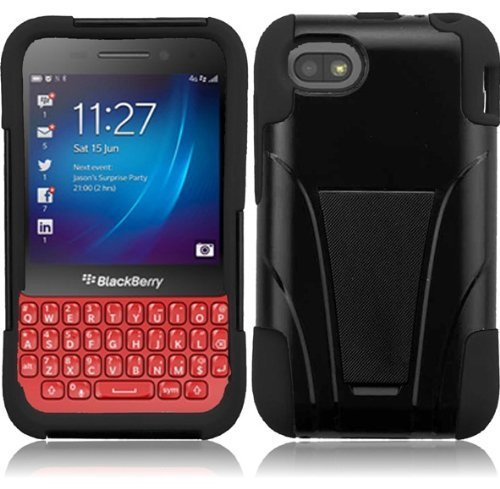 Blackberry Q5 (AT&T), LF Hybrid Dual Layer Case with Stand, Lf Stylus Pen & Wiper Accessory (Stand Black) Blackberry Blue Faceplates