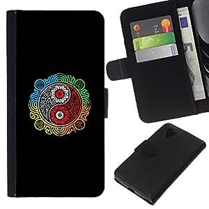 JackGot ( Colorful Ying Yang ) LG Nexus 5 D820 D821 la tarjeta de Crédito Slots PU Funda de cuero Monedero caso cubierta de piel